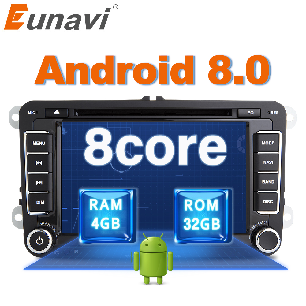 Eunavi Octa 8 Core Android 8.0 2 Din Voiture lecteur dvd Pour VW GOLF JETTA POLO TOURAM PASSAT B6 GPS navi Stéréo Radio USB WIFI DAB +