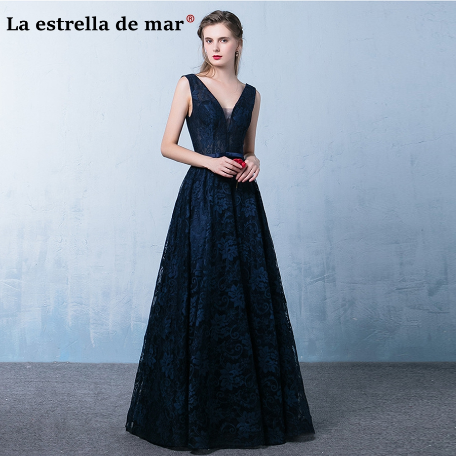 Vestidos de festa vestido longo para casamento2018 new sexy V neck lace aLine navy blue   bridesmaid     dresses   plus size