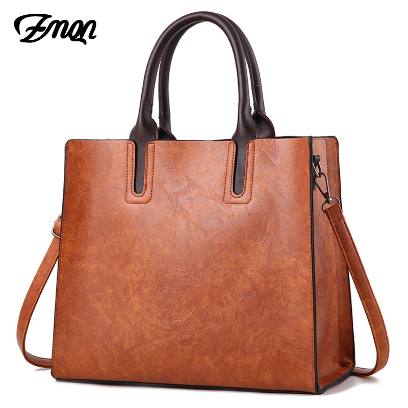 ZMQN Luxury Brands Bags Womens leather Handbags Large Capacity Retro Vintage Hand Top-Handle Bags Solid Tote Sac Shoulder C901