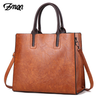 ZMQN Luxury Brands Bags Womens Leather Handbags Large Capacity Retro Vintage Hand Top Handle Bags Solid