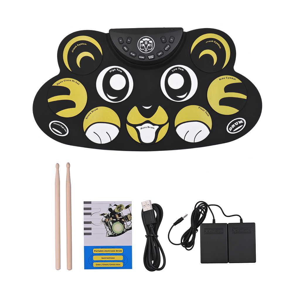 Batteria elettronica Roll Up Drum Set Kit Del Silicone Del Fumetto Dei Capretti Dei Bambini Drum Set con Bacchette Piede Pedali Cavo USB