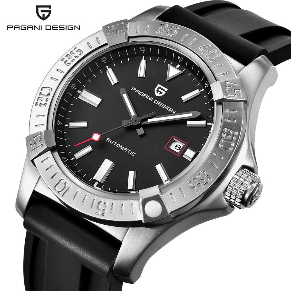 Pagani design nova marca de luxo masculino clássico pulseira de borracha relógios mecânicos moda casual à prova dwaterproof água 30 m relógio automático saat