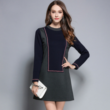 2017 New Autumn Winter Patchwork Woman's Elegant Dresses O-Neck Ribbon A-Line Plus Size Casual Ladies Gray Dress Woman Clothing