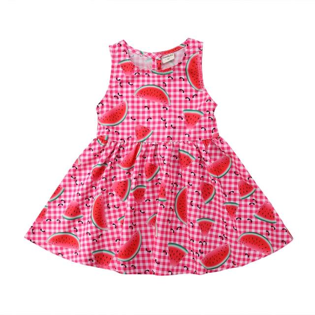e1f9a9e10b4 2-5Y Toddler Kids Girl Summer Dress Sleeveless Watermelon Print A-line  Princess Party