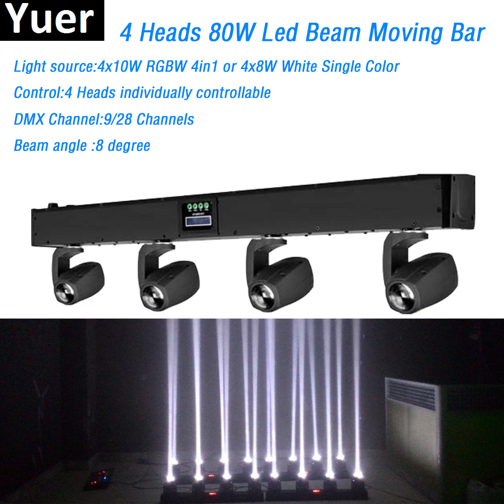 4 Heads 80W Led Mini Beam Moving Head Light RGBW Or White Color 4pcs 8W led lamp DMX Controller Professional Stage DJ Lighting 6pcs lot white color 132w sharpy osram 2r beam moving head dj lighting dmx 512 stage light for party