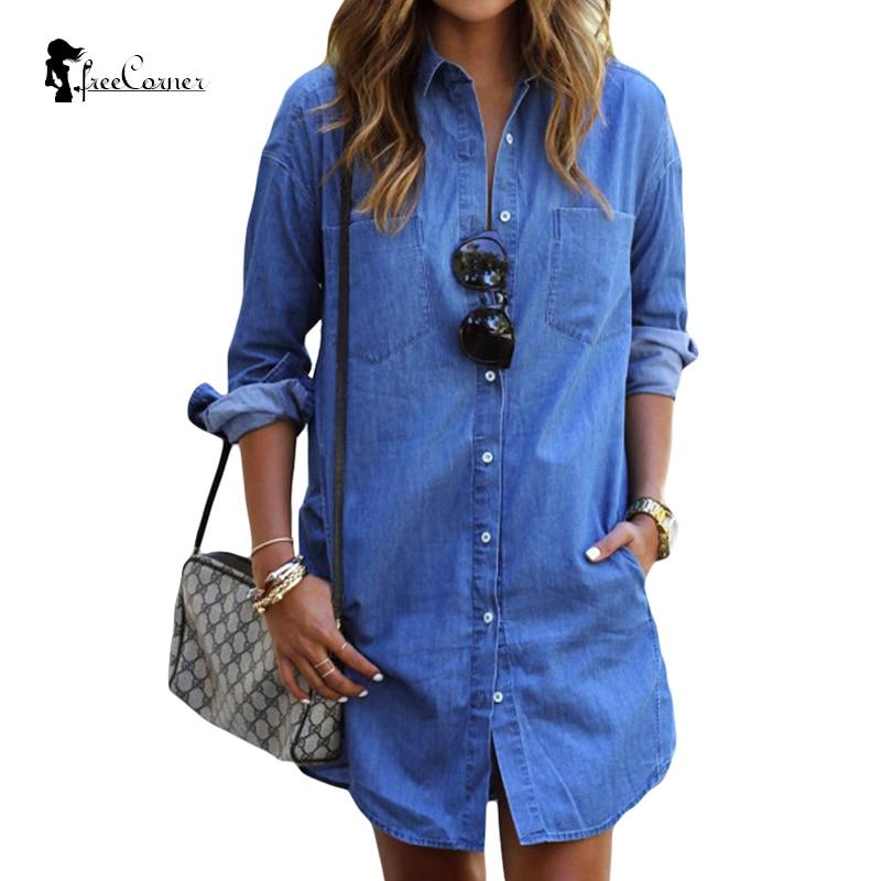 New denim shirts tops ladies long sleeve blue jeans shirt for Jeans shirt for ladies online