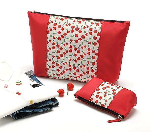 AB489 2 bolsas set dulce remiendo de la impresión floral de color rojo cereza Maquillaje Cosmético Del Almacenaje Del Organizador Del Bolso de Lona de algodón Nuevo 0.25