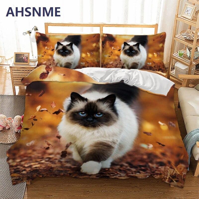 AHSNME 3D Effect Cute Kitten Cover Set Summer Bedding Set Warm Cat Pattern King Queen Bed Set