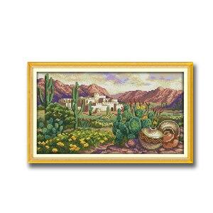 Цветок в пустыне, кактус, Европейский пейзаж dmc 14CT 11CT, счетный крест, набор для рукоделия, Набор для вышивки, домашний декор, ремесла