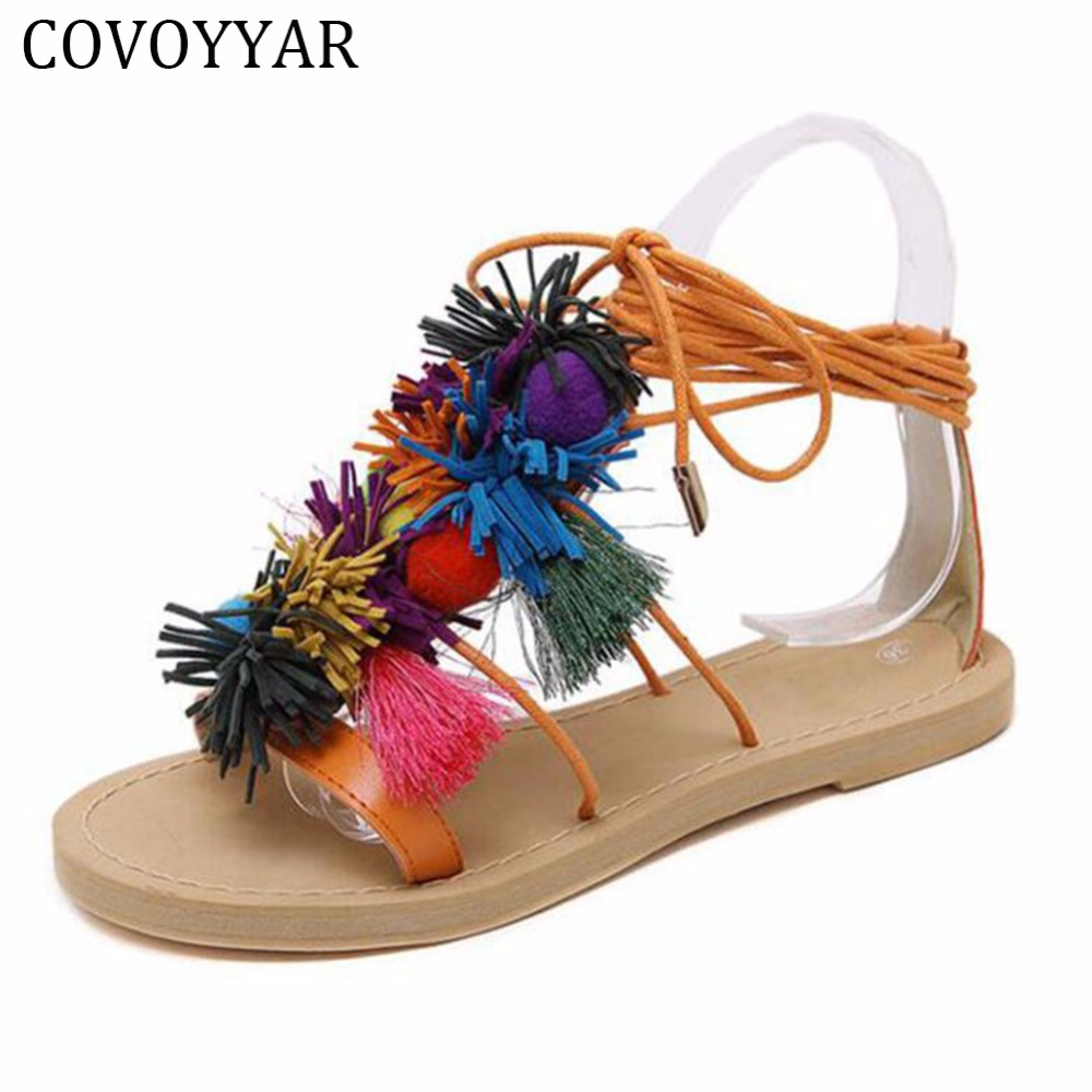 2018 Cute Furry Colorful Ball Women Sandals Flat Lace Up Flip Flops Sendal Lisa Purple Covoyyar Franja Peludo Bola Colorida Sandlia Gladiador Vero Das Sandlias Mulheres Ata Acima