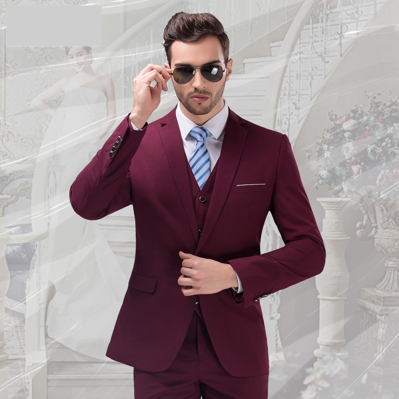 S-4XL 7 colors jacket+vest+pant free shipping2015men business suit tuxedo wedding suits groom men 3-piece suit dress suit purple basic pump