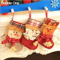 5pcs Lot Christmas Stocking Gift Bags Small Jewelry Candy Gift Pouch Santa Claus Snowman Deer Child