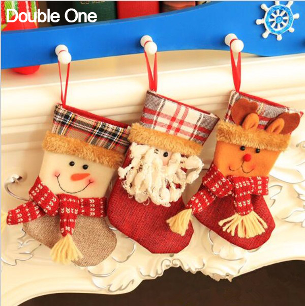 5pcslot christmas stocking gift bags small xmas jewelry candy gift pouch santa claus snowman