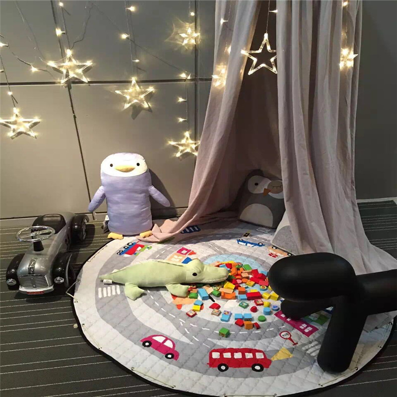 ФОТО 150CM Ins Baby Home Decoration Blanket Multifunctio Kid Baby Cartoon Animal Toy Storage Bag Round Shape Climbgame Mats Carpet
