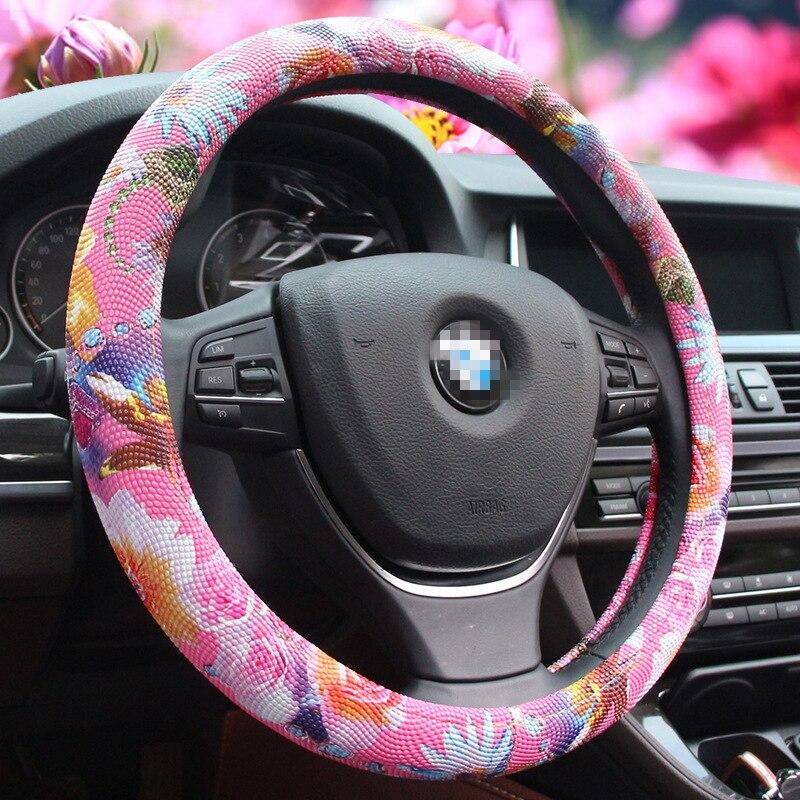 car styling steering wheel car Cute Rose Printing Steering Wheel Covers Girls Dia 38cm Personalized Steering Wheel Cover ...
