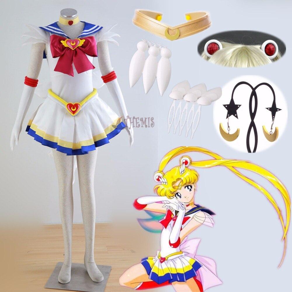 Athemis anime sailor moon usagi tsukino super s costume cosplay su ordine qualsiasi formato dress e gioielli