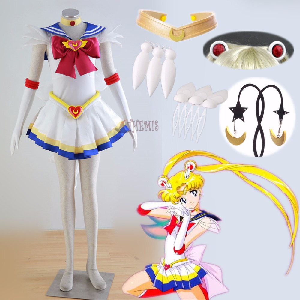 Traje de Cosplay de Athemis Anime Sailor Moon Tsukino Usagi Super S hecho a medida cualquier tamaño vestido y joyería