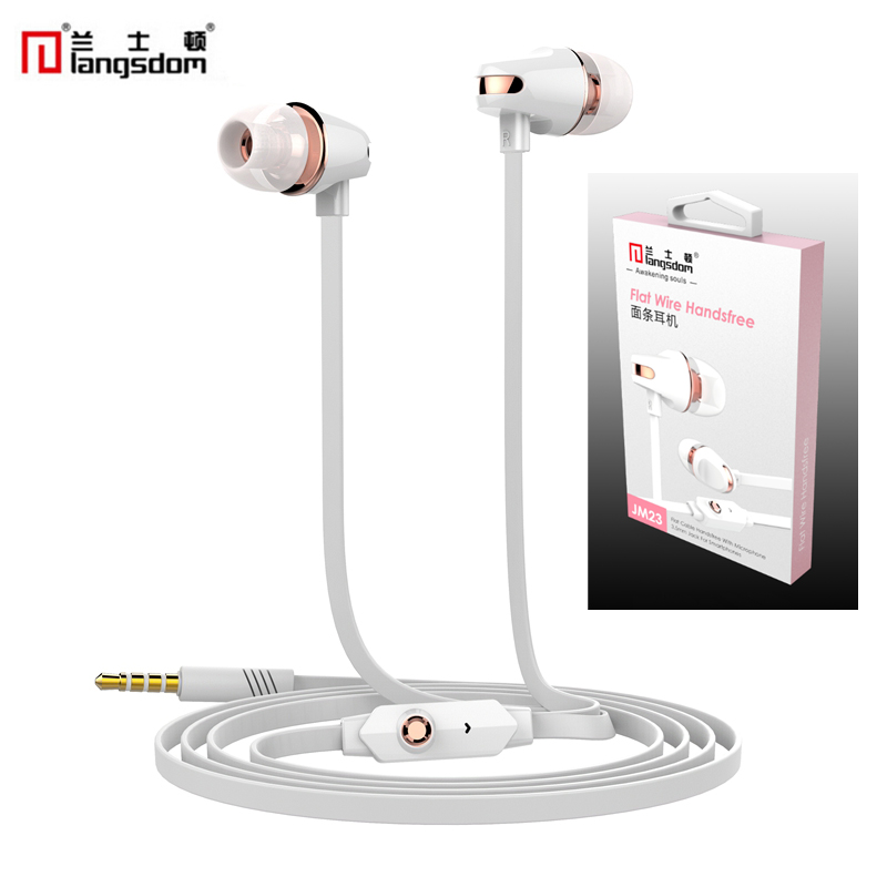 Original Langston JM23 stereo earphones With Mic For Xiaomi Samsung iPhone Earpods Audifonos Fone De Ouvido Auriculares Earbuds 50pcs lot cctv connector bnc connector bnc to av for cameras