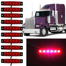 10PCS Waterproof 6 LED Truck Lorries Bus Clearance Side Marker Indicators Light Lamp Amber