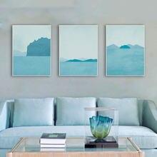 Современные абстрактные морские пейзажи Постер А4 синий пейзаж