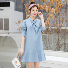 Korean new Cotton maternity dress 2019 spring and autumn loose plus size solid color lapel bow shirt