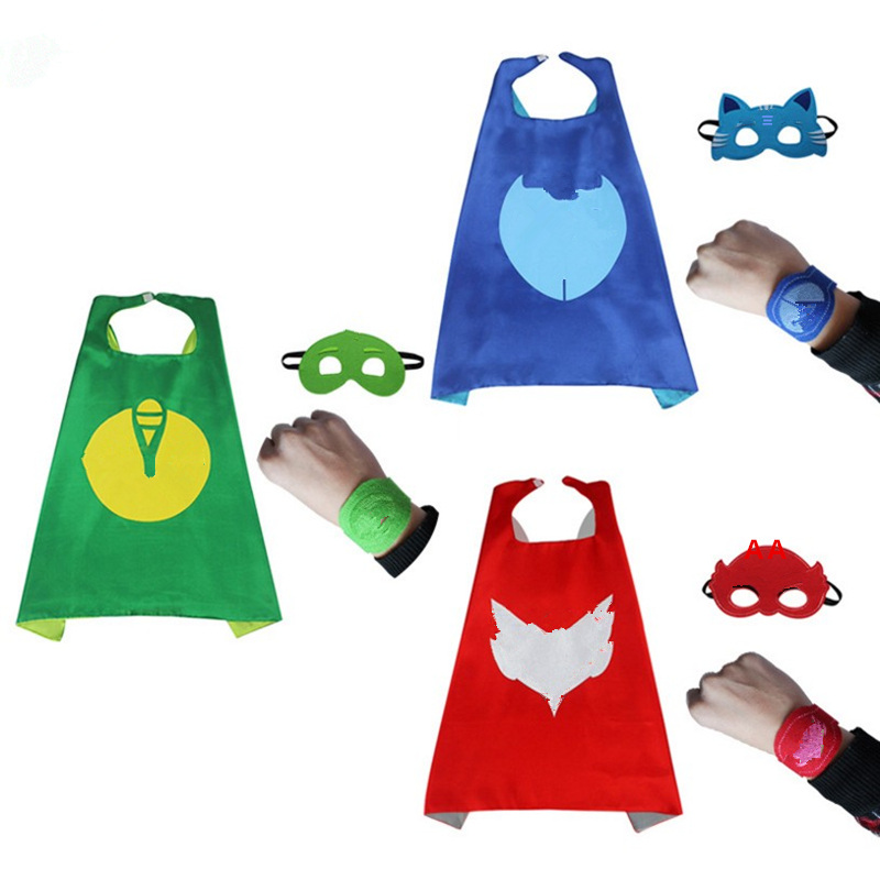 4PCs Superhero Party pyjamasque mask Cosplay Costume for kids cloak masks masker Gekko Child Mask catboy Owlette4PCs Superhero Party pyjamasque mask Cosplay Costume for kids cloak masks masker Gekko Child Mask catboy Owlette
