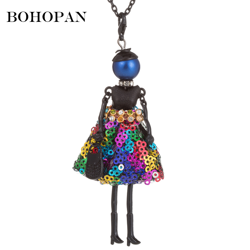 Colored Sequins Dress Design Fashion Doll Necklace For Girl kids Black Long Chain Statement Necklace Women collier femme 2018 in Pendant Necklaces from Jewelry Accessories