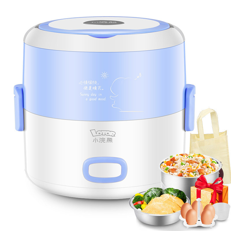 Electric Lunch Box Cooking Lunch Box Small Lunch Box Rice Cooker Multifunction Double Layer Stainless Steel Liner Heating bear electric lunch box portable vacuum three layer automatic insulation heating cooking stainless steel rice cooker