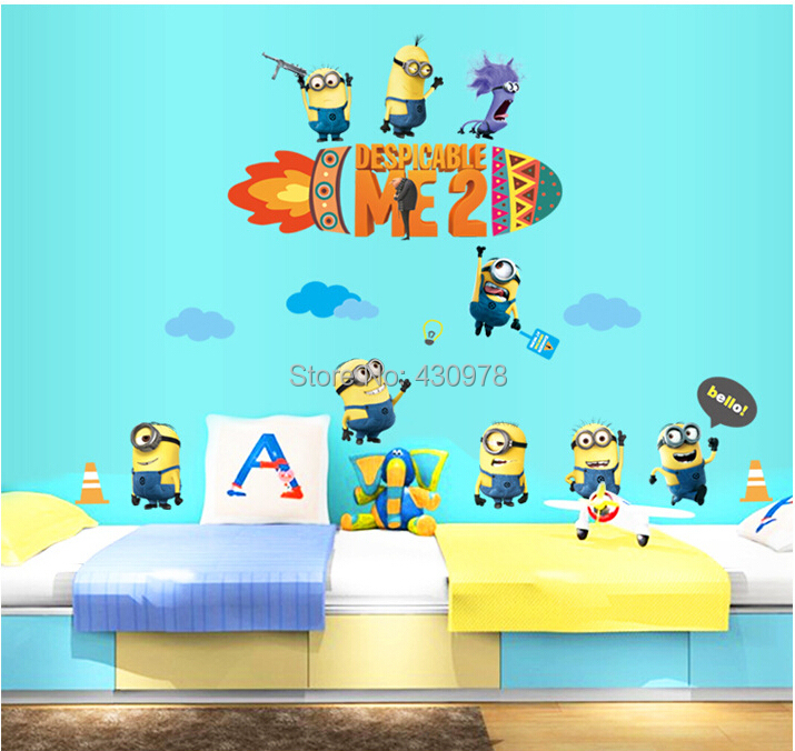 New Arrive QZ1394 Free Shipping 1Pcs Despicable Me Cartoon Yellow Removable PVC Wall Stickers <font><b>Elegant</b></font> <font><b>Home</b></font> <font><b>Decoration</b></font> Gift
