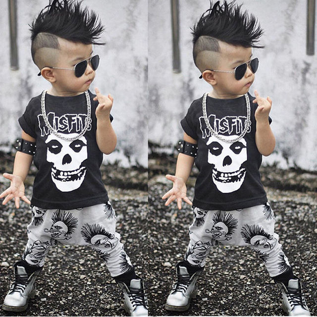 f3e7f606e844 2pcs Kids Baby Boy Summer Clothes Set Black Boy Short Sleeve Skull ...