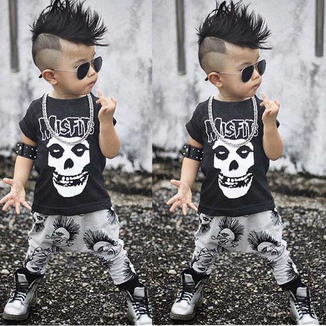 f3e7f606e844 2pcs Kids Baby Boy Summer Clothes Set Black Boy Short Sleeve Skull ...