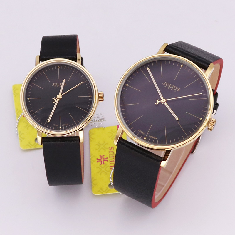 Julius Women's Watch Men's Watch Couple Watch Japan Quartz Hours Fashion Dress Bracelet Leather Birthday Lovers Gift  814