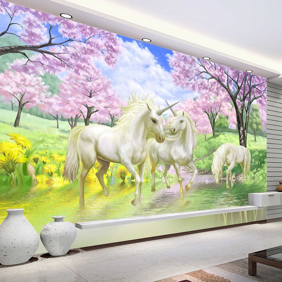 Custom 3D Mural Wallpaper Unicorn Dream Cherry Blossom TV Background Wall Pictures For Kids Room Bedroom Living Room Wallpaper free shipping custom modern 3d mural bedroom living room tv backdrop wallpaper wallpaper ktv bars statue of liberty in new york