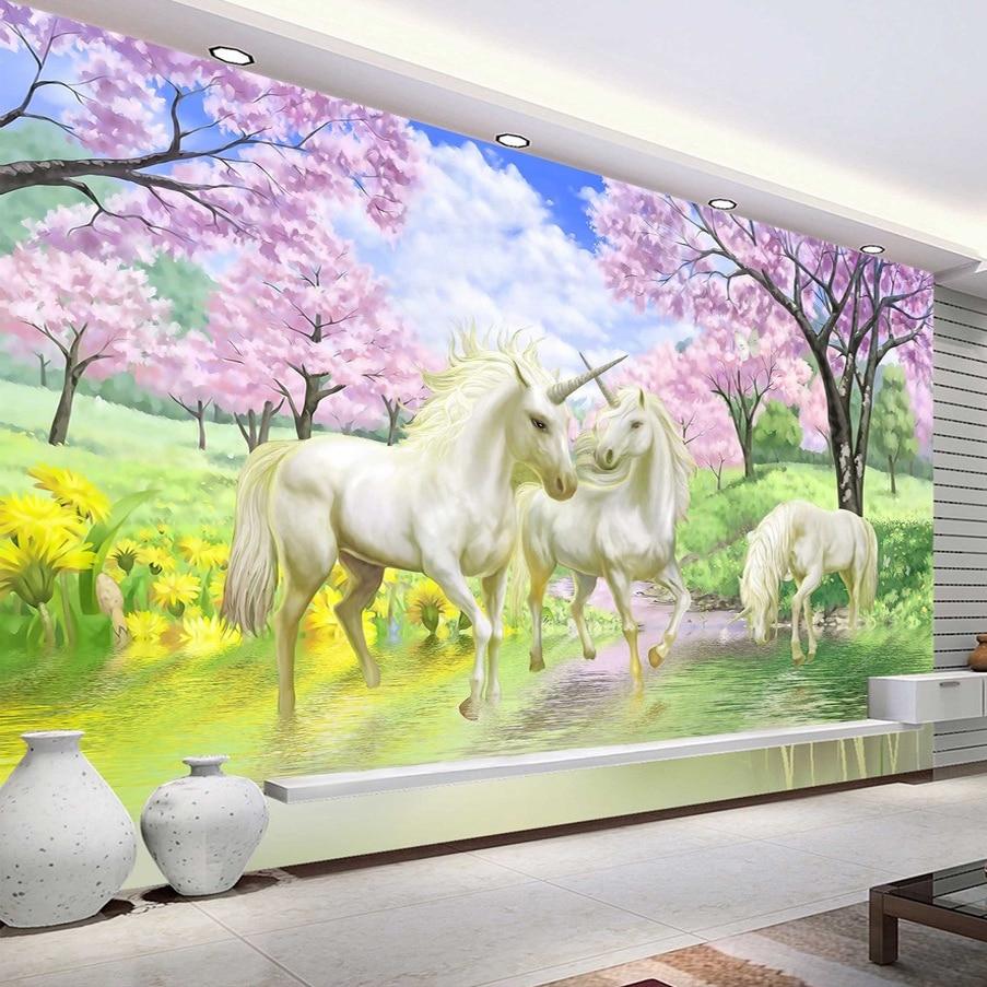 unicorn 3d bedroom background murals mural dream blossom cherry children tv fantasy wall custom living sakura decor walls coffee wallpapers