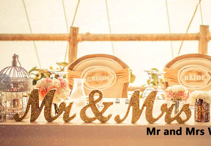 aliexpresscom buy 3pcs set bling bling gold mr mrs With mr and mrs wooden letters for weddings