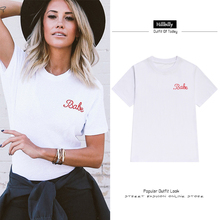 Hillbilly Hot Sale White Cotton Babe Letters T-shirts Women Fashion Plus Size Street Wear Tees Tshirts Summer 2017 Gifts C1-42