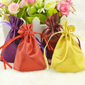 "Silk Stain Gift Bag 8x10cm(3""x 4"") Various Color  Fashion Jewelry Drawstring Pouch Wedding Favor Holder"