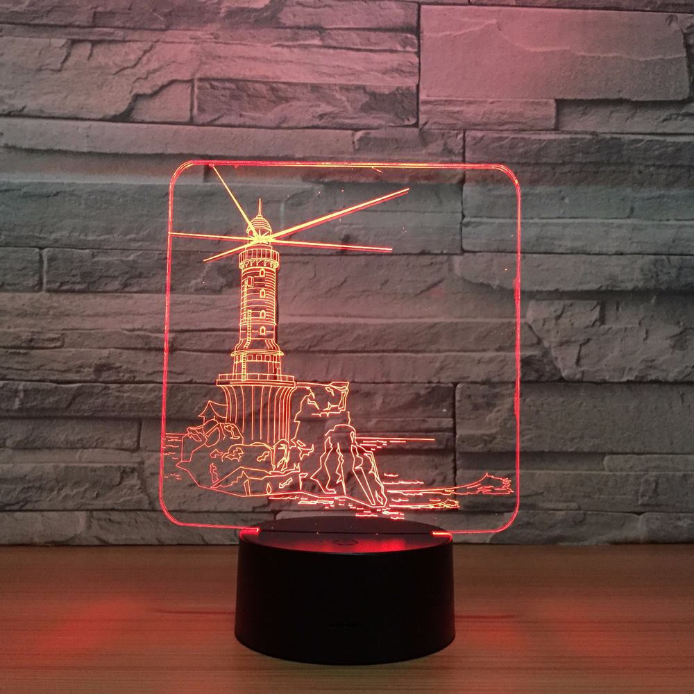 Lighthouse Design 3D LED Night Light 7 Color Change Mood Lamp USB 3D Illusion Table Lamp For Home Decorative Drop Shipping