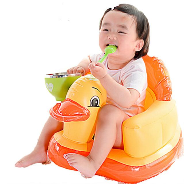 Cadeira Inflável Do bebê Alimentação infantil Portátil Assento Do Sofá Cadeira de Banho Infantil Jogo de Jantar de Plástico Transat Cadeira Sofá de Sopro