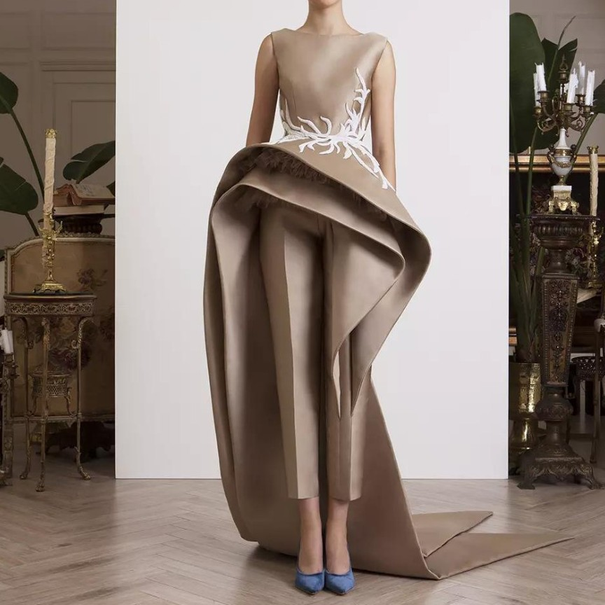Special Designers Evening Dress Satin Vestido De Festa robe de soiree avondjurk Lace Appliques Evening Dresses