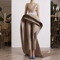Специальные Дизайнеры вечернее платье Атлас vestido de festa халат avondjurk кружево Вечерние платья с аппликацией Элегантный длинное