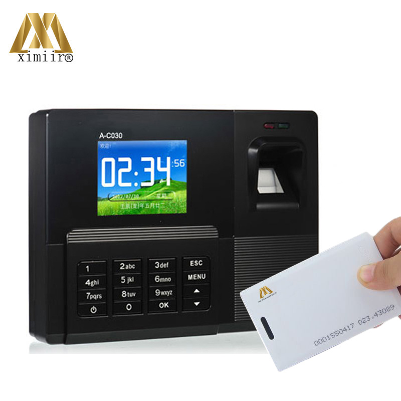 2000 Fingerprint User USB Biometric Time Attendance Device Color Screen A-C030 RFID Card Reader Time Attendance