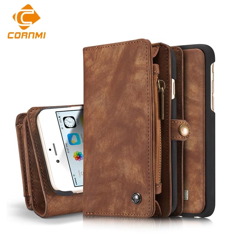 imágenes para Multifunción Funda Cartera de Cuero Para El Iphone 6 6 s 6 Más 7 7 Plus Bolsa Del Teléfono Cubierta Del Bolso Con ranuras Crd soporte