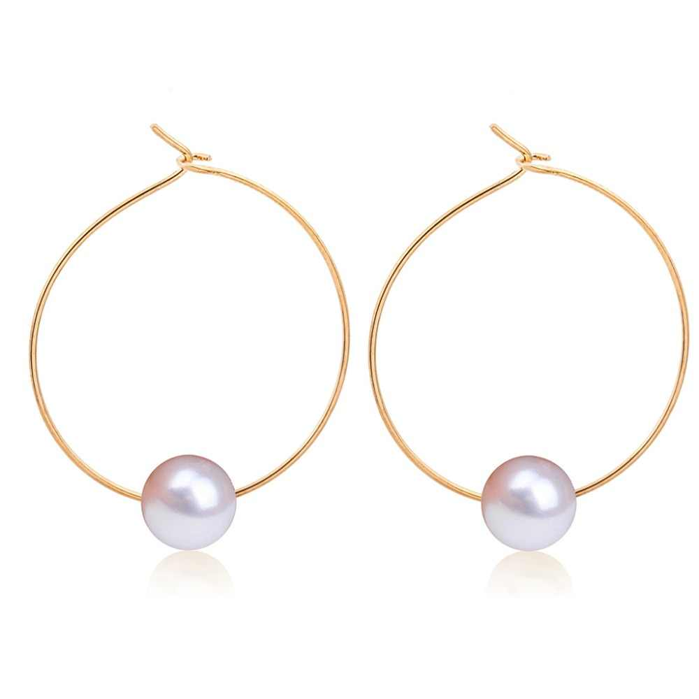 SexeMara New Trendy Big Circle Hoop Earrings For Women White Simulated Pearl Delightful Wedding Design Huggie Earring Brinco