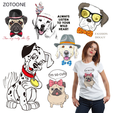 ZOTOONE Cute Dog Iron on Transfer Patches Stripes Clothing Diy Patch Heat for Clothes Decoration Stickers Kid Gift G