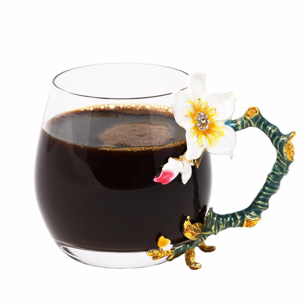 KEYTREND Originele koffiemokken Topkwaliteit glazen bekers met unieke emaille bloem handgreep, korte en lange maten beschikbaar AECL092