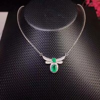 Fashion Lovely Dragonfly Natural green emerald Necklace Natural gemstone Pendant Necklace 925 sliver women party gift Jewelry
