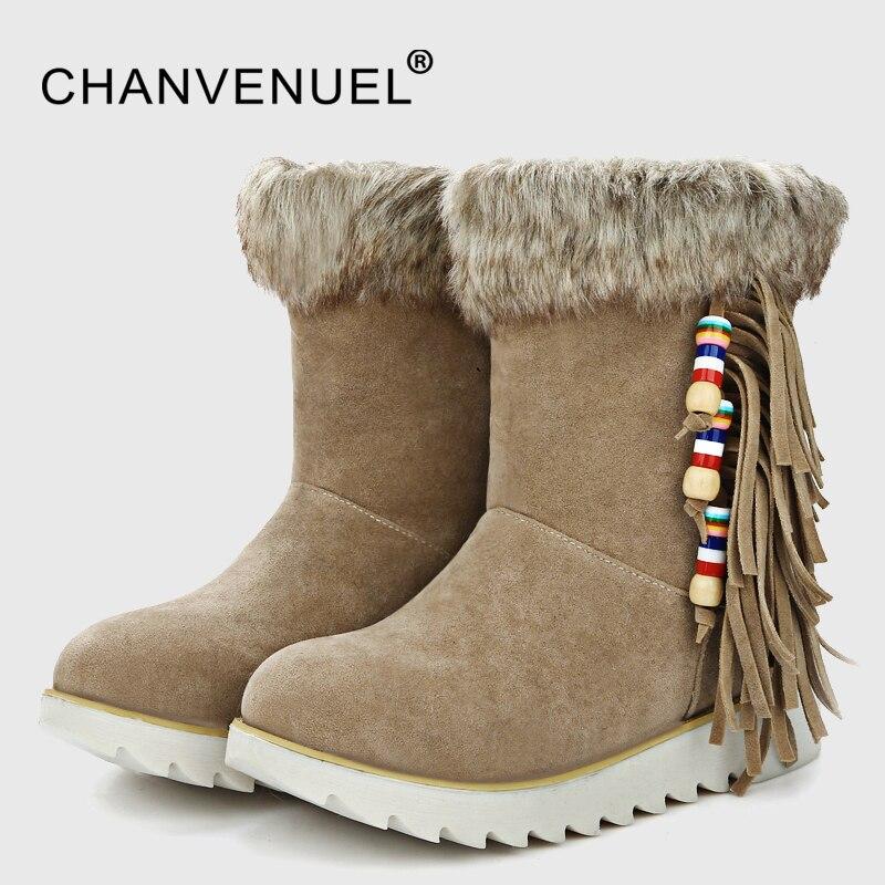 Winter Fur Warm Snow Boots Women Tassel Design Ethnic Style Short Boots Woman String Bead Botas Female Shoes