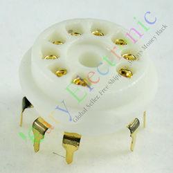 Sprzedaż hurtowa i detaliczna 4 pc złoty 9pin PCB ceramiczne gniazda próżniowe podstawa zaworu 12AX7 12AU7 ECC83 ECC82 darmowa wysyłka na