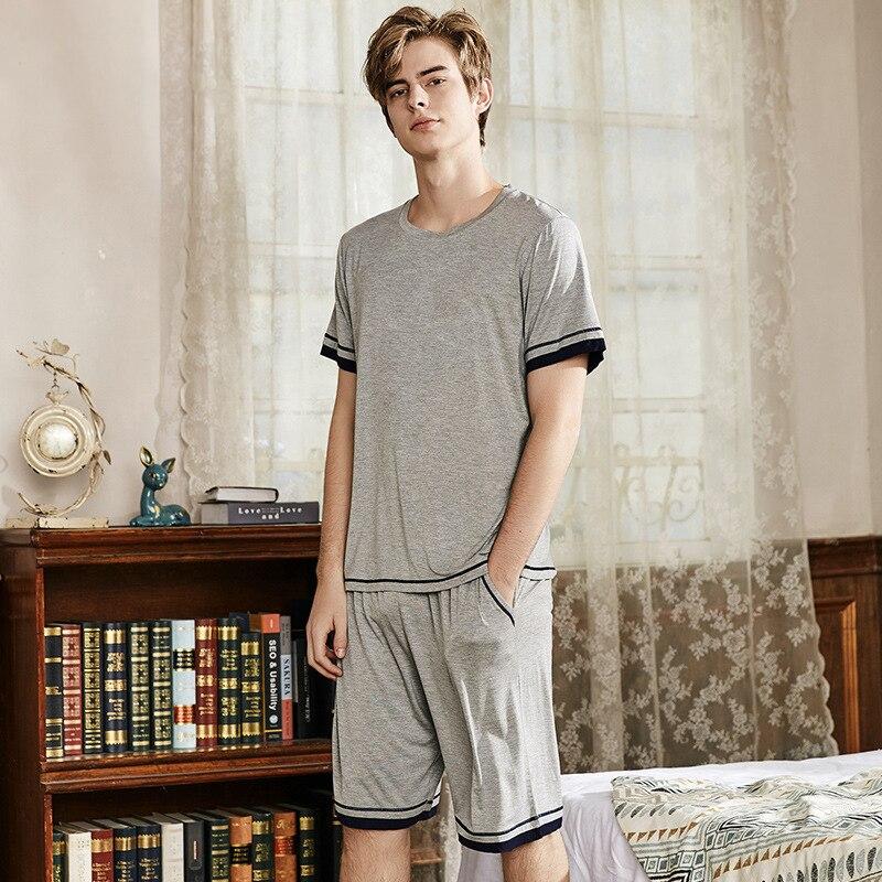 Pajamas Shorts Sleepwear Male Plus-Size Summer Home Casual Solid Modal Pj-Set 2PCS Men